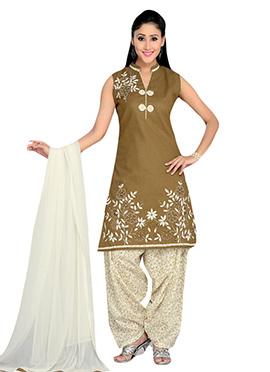 Greenish Beige Cotton Patiala Suit