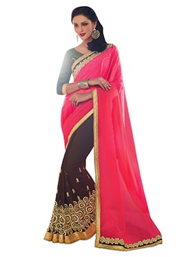 Dark Brown N Pink Ombre Half N Half Saree