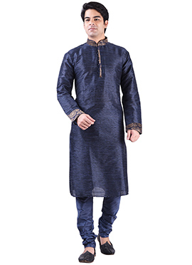 Dark Navy Blue Art Silk Solid Pattern Kurta Pyjama