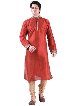 Dark Orange Art Silk Solid Pattern Kurta Pyjama