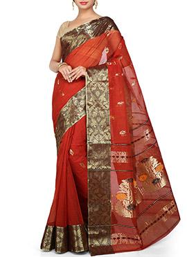 Dark Red Cotton Decorative Designed Saree