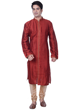 Dark Red Striped Art Silk Kurta Pyjama