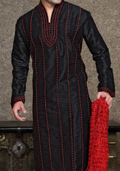 Vertical Paneled Black And Red Kurta Pyjama