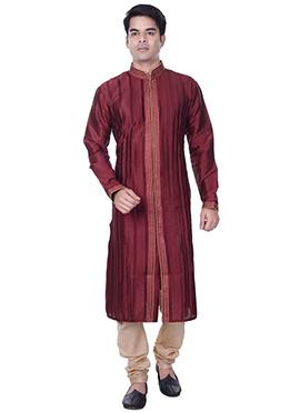 Deep Maroon Striped Art Silk Kurta Pyjama