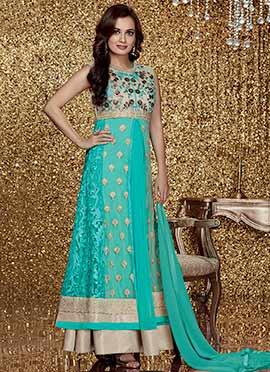 Dia Mirza Sea Green Anarkali Suit