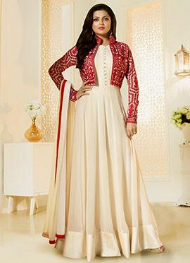 Drashti Dhami Beige Jacket Style Anarkali Suit
