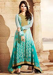 Elegant Lara Dutta Turquoise Georgette Anarkali