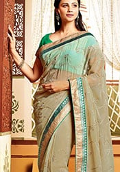 Enchanting Beige Daisy Shah Chiffon Saree