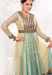 Fascinating Cream Net Anarkali Suit