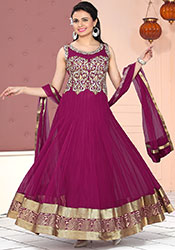 Glowing Red Anarkali Suit