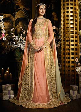 Golden Beige N Pink Heavily Embroidered Anarkali S