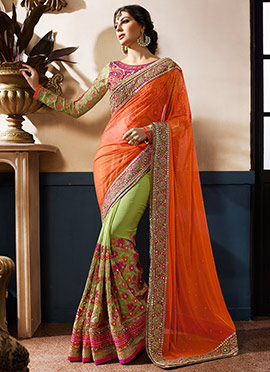 Green N Orange Half N Half Saree