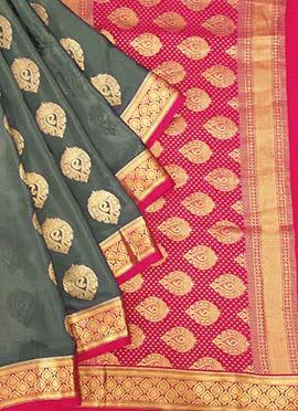 Grey Jacquard Pure Mysore Silk Saree