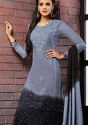 Blue N Black Chiffon Churidar Suit