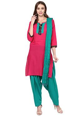 Hot Pink Cotton Patiala Suit