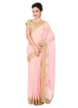 Ks Couture Light Pink Chiffon Border Saree