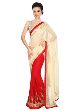 Ks Couture Red N Cream Half N Half Saree