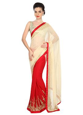 Ks Couture Red N Cream Half N Half Saree