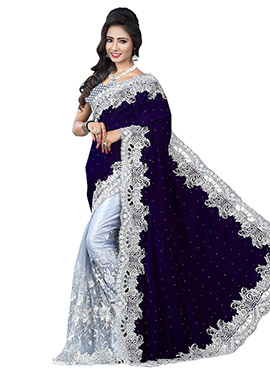 Light Grey N Dark Violet Half N Half Saree
