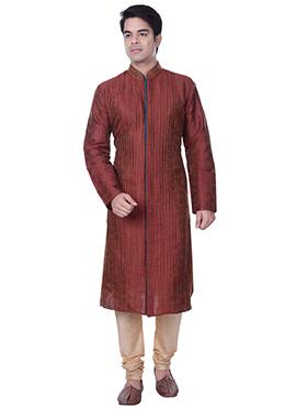 Maroon Art Silk Striped Kurta Pyjama