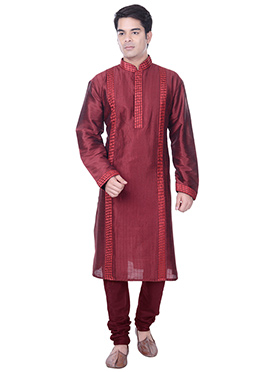 Maroon Embroidered Striped Kurta Pyjama