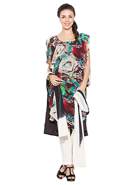 Multicolored Printed Georgette Straight Pant Suit