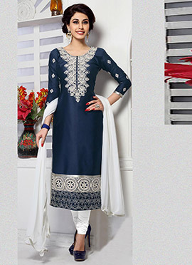 Navy Blue Cambric Cotton Straight Suit
