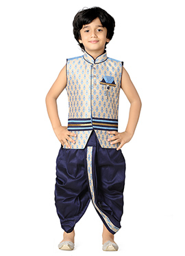 Navy Blue N Beige Kids Dhoti Kurta