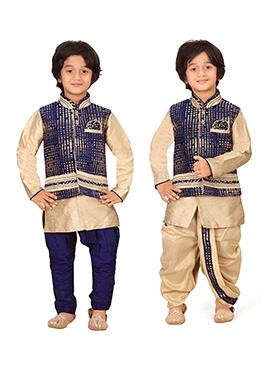Navy Blue N Beige Kids Dhoti Kurta N Bandi Set Com