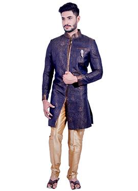 Navy Blue Silk Brocade Indowestern Sherwani