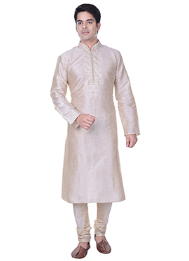 Off White Art Silk Kurta Pyjama