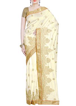 Creamish Yellow Embroidered Art Silk Saree