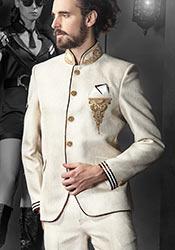 Off White Jodhpuri Plus Size Suit
