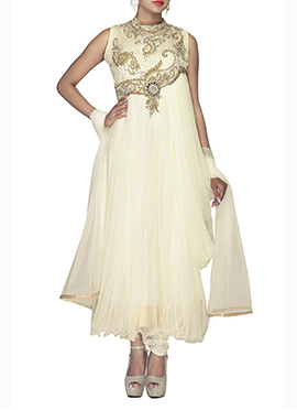 Offwhite Net Draped Ankle Length Anarkali Suit