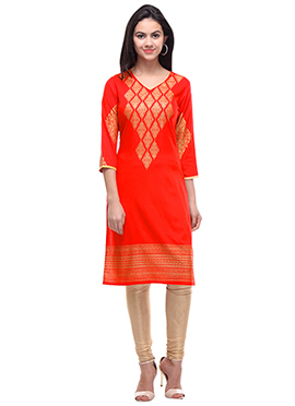Orange Viscose Kurti