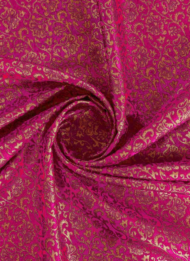 Buy Pink Brocade Fabric Zari Brocade Blended Patterned