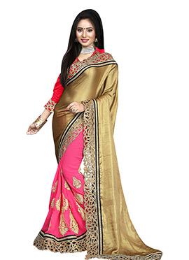 Pink N Golden Half N Half Saree