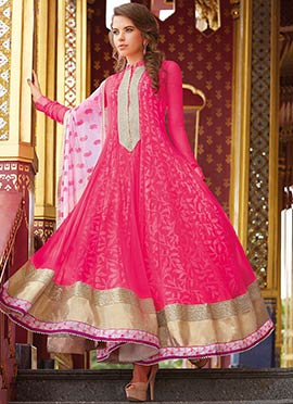 Pink Net N Cotton Printed Anarkali Suit