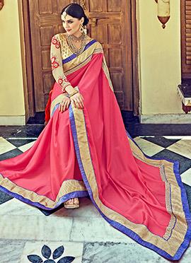 Pink Satin Silk Saree