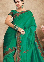 Pretty Green Pure Silk Saree
