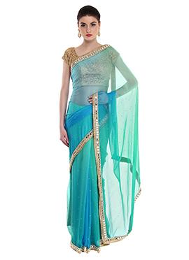 Priti Sahni Turquoise N Blue Chiffon Border Saree