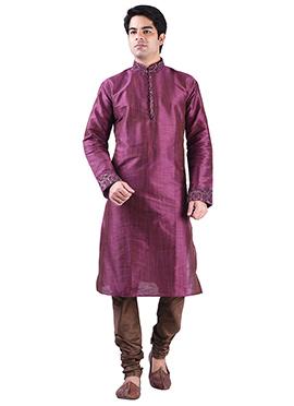 Purple Art Silk Solid Pattern Kurta Pyjama