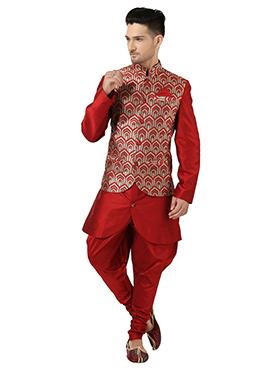 Red Art Silk Indowestern Bandi Set