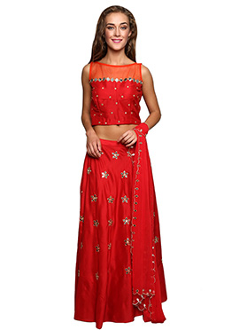 Red Cotton Silk Lehenga choli