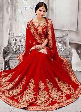 Red Viscose Silk Embroidered Saree