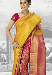 Red and Yellow Pure Kancheepuram Silk Half N Half