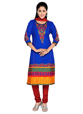 Royal Blue Cotton Straight Suit