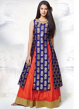 Royal Blue N Orange Long Choli Lehenga