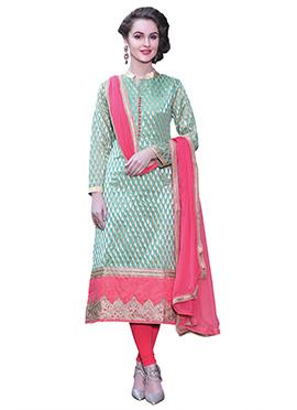 Sea Green Handloom Cotton Straight Suit