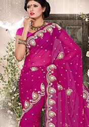 Sophisticated Magenta Chiffon Saree